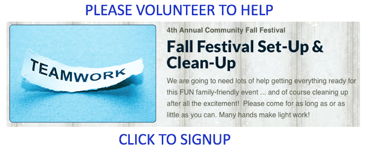 """Fall Festival Setup Cleanup Signup"