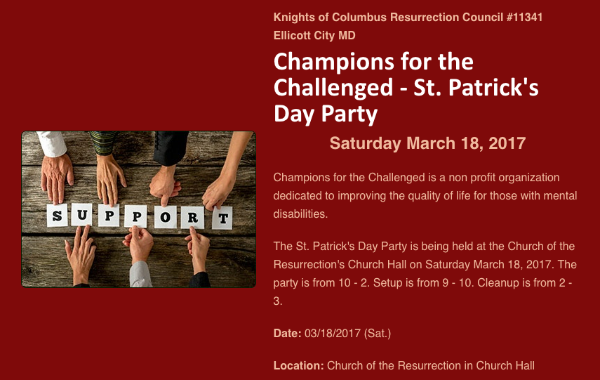 Champions for the Challenged - St. Patrick's Day Party