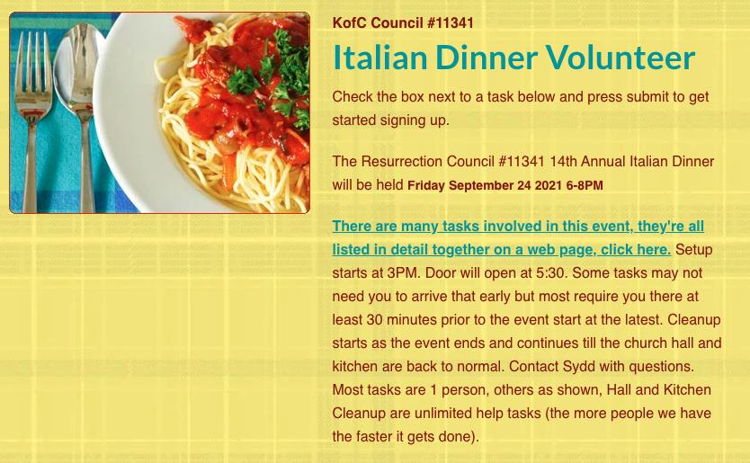 Italian Dinner Volunteer