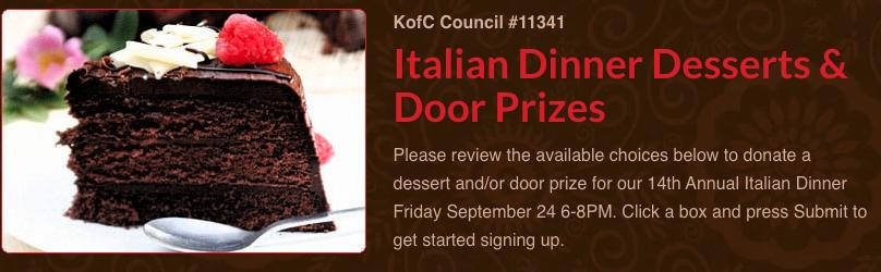 Italian Dinner Desserts & Door Prizes